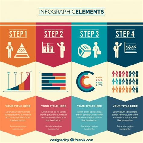 graphics design information business steps infographic vector free download