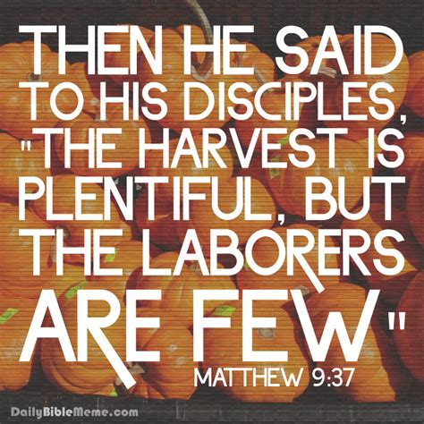 the harvest is plentiful but the workers are few matthew 9 37 daily bible meme