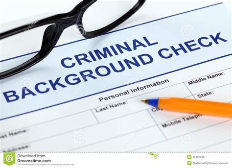 Criminal Record Check Application Criminal Background Check Application Form Stock Photo Image 45697538