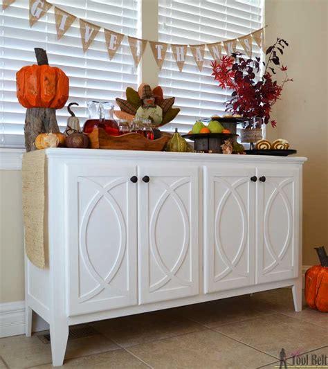 Diy Buffet Cabinet by Diy Buffet Sideboard With Circle Trim Doors Tool Belt