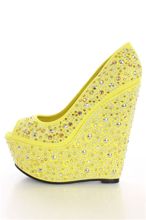 yellow rhinestone studded wedges wedges shoes store wedge
