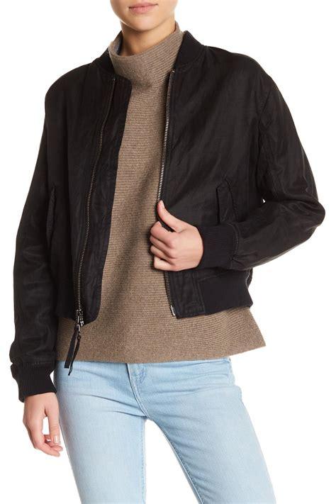 Jaket Bomber Crop Black lyst vince crop bomber jacket in black