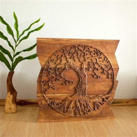 wall decor tree of carved wood panels in a