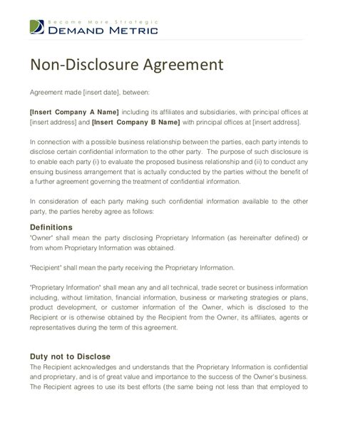Non Disclosure Agreement Template Nda Agreement Template