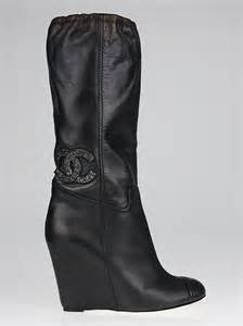 chanel black leather cc logo wedge boots size 10 40 5