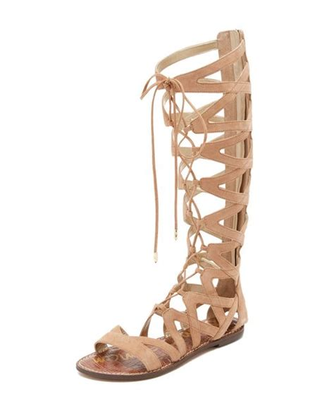 gladiator sandals sam edelman gena camel suede gladiator lace up sandal in