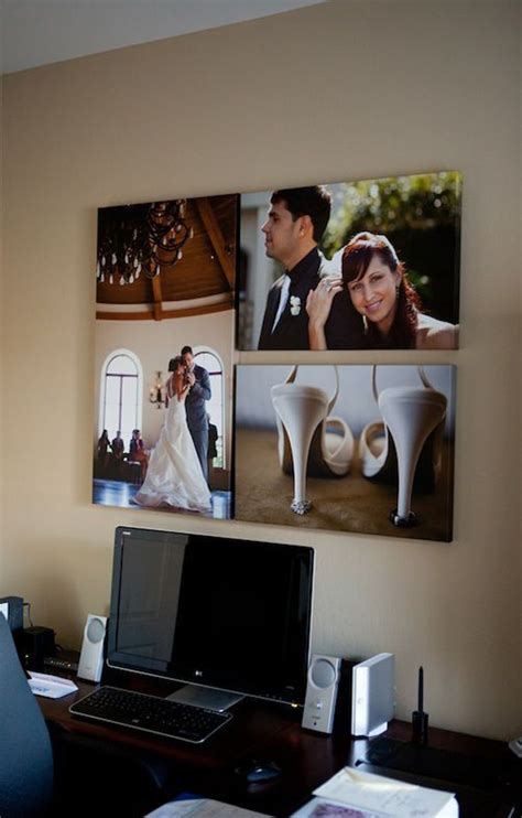 office photography ideas wedding photo display in workspace