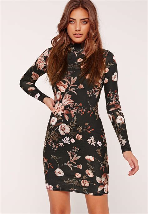 Lord Highneck Bodycon Dress missguided floral high neck sleeve bodycon dress
