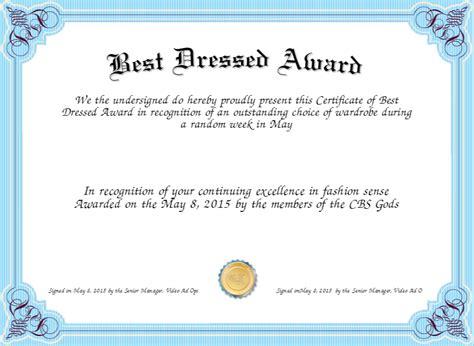 best dressed award certificates printable activity shelter