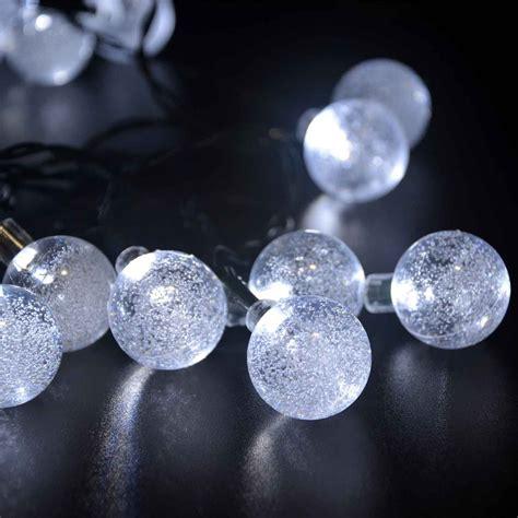 Ledertek Solar Outdoor String Lights 20ft 30 Led White Globe Solar String Lights