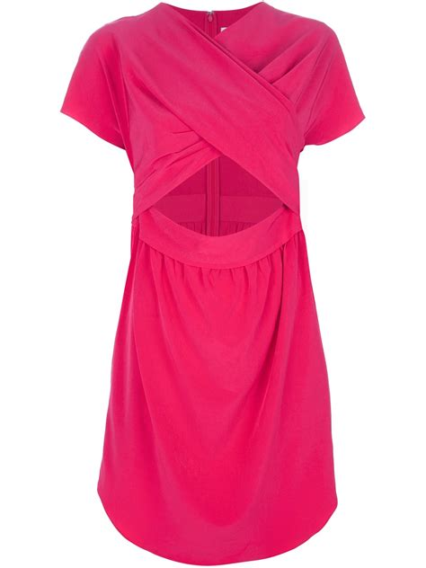 wrap around carven wrap around dress in pink lyst