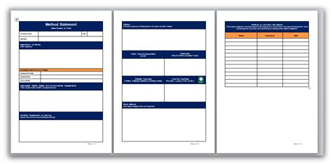 risk statement template blank method statement and risk assessment template pack