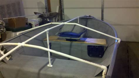 homemade pontoon boat covers pr boat diy canoe rod holder