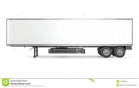 Blank White Parked Semi Trailer Side View Stock Photo Image 31498000 Trailer Templates Free