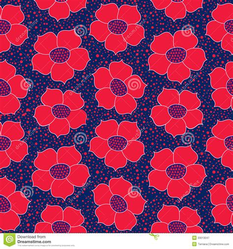 red blue brown white oriental flowers patterned roller floral seamless background red flower pattern royalty