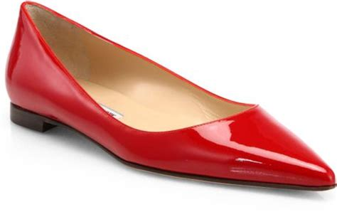 manolo blahnik bb patent leather ballet flats in black lyst manolo blahnik bb patent leather ballet flats in red lyst
