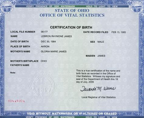 State Of Ohio Birth Records Lebron S Birth Certificate Kingsfans Community Forums