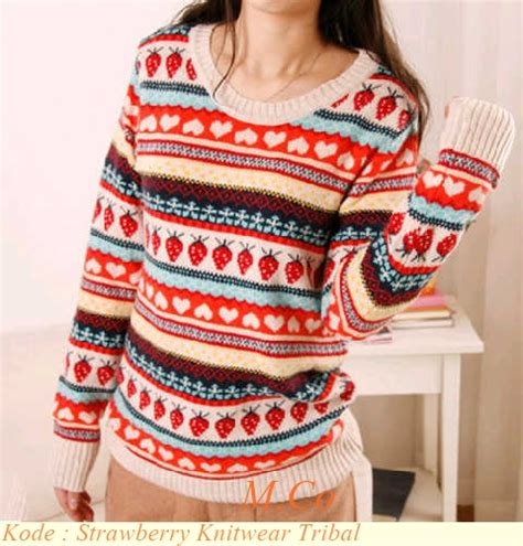 Baju Rajut Pria Korea Style Columbus Tribal Sweater Murah grosir baju korea murah strawberry knitwear tribal modenagrosir