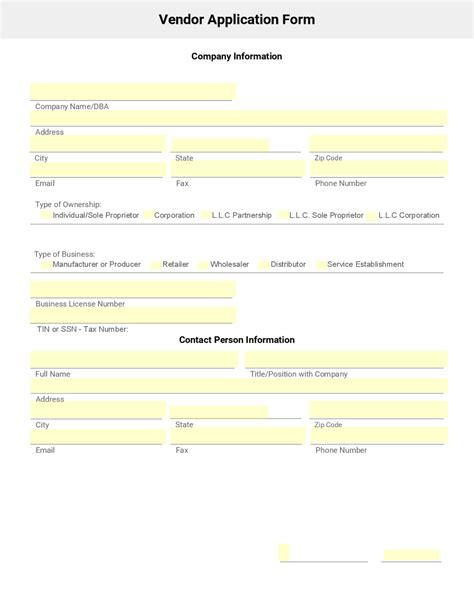 doc 8501099 vendor application form template bizdoska com