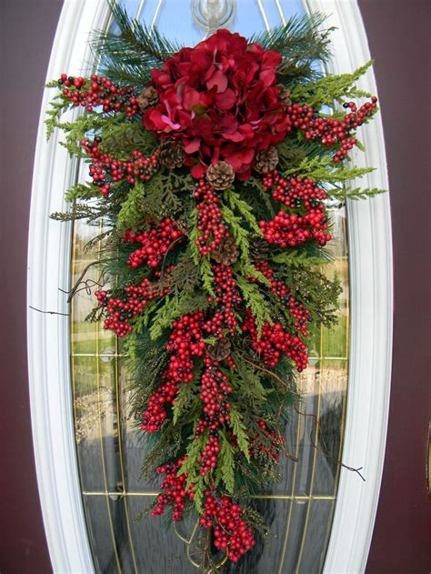 christmas swags for doors teardrop swag door decor home for the holidays beautiful doors and