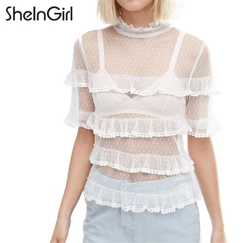 Lace Polka Denim Shirt popular sheer white polka dot shirt buy cheap sheer white polka dot shirt lots from china sheer