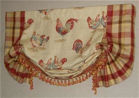 red rooster curtains valance balloon curtain gold waverly toile plaid trim