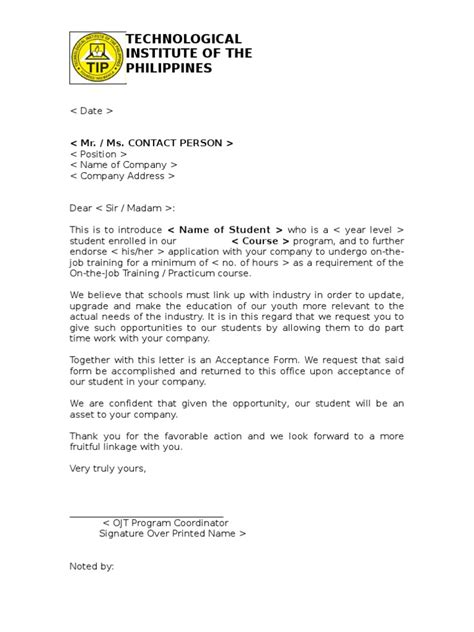 Endorsement Letter For Internship Ojt Endorsement Letter