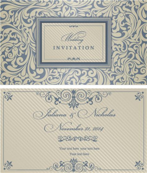 wedding invitation graphic design vector decorative pattern wedding invitation cards vector set free vector in encapsulated postscript