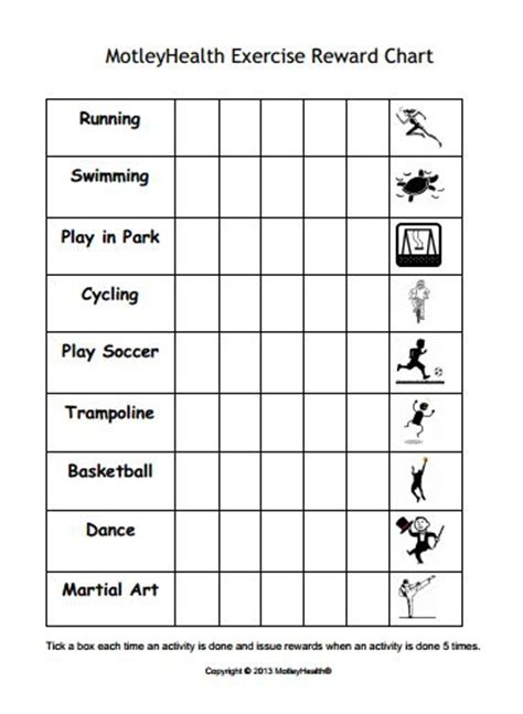 printable reward charts for adults kids exercise reward chart motivate kids to get active
