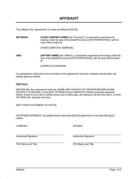 Affidavit Format Template Sle Form Biztree Com Business Affidavit Template
