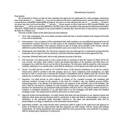 7 mortgage commitment letter templates to