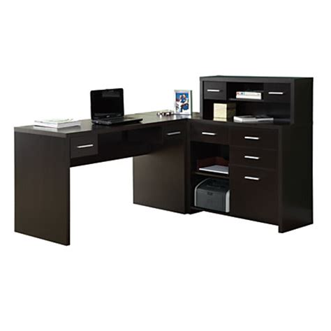Office Depot L Desk Monarch Specialties L Shaped Computer Desk 44 X 63 X 59 Cappuccino By Office Depot Officemax
