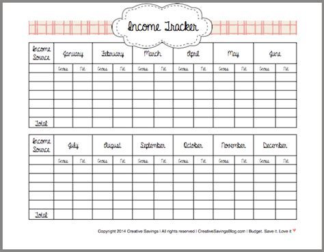 Income Tracker Spreadsheet by How To Track Your Income Creative Savings