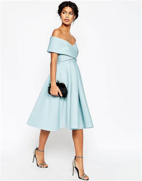 Dress Ola Midi Jersey Premium image 4 of asos premium scuba the shoulder midi dress so ladylike asos