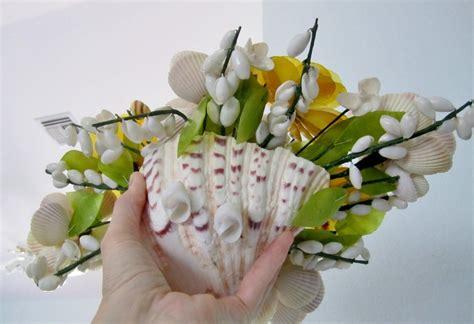 vintage folk art seashell flower floral large arrangement vgc