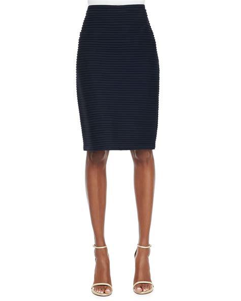 tadashi pintucked pencil skirt navy in blue navy lyst