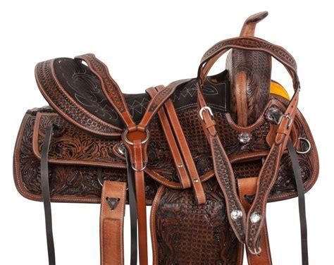 horse saddle 17 western brown arabian saddle leather tooled pleasure