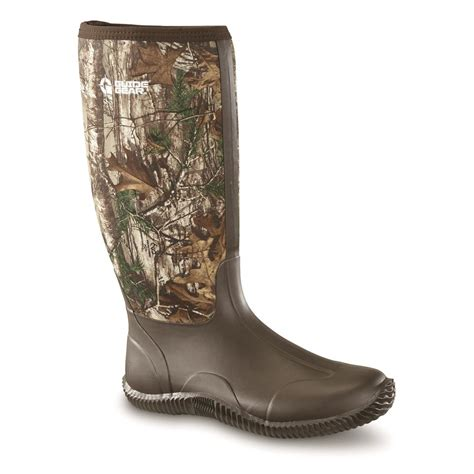 guide gear s high camo rubber boots realtree xtra