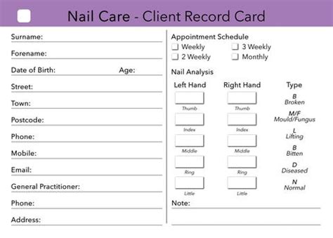 free nail technician client record card template nail care client card treatment consultation card
