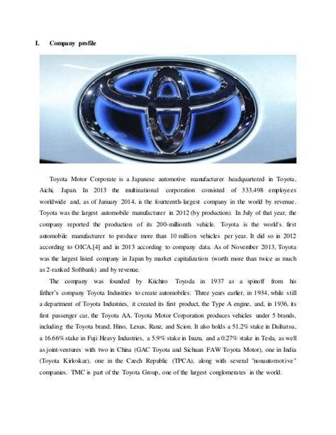 toyota company overview assignment toyota s marketing strategy