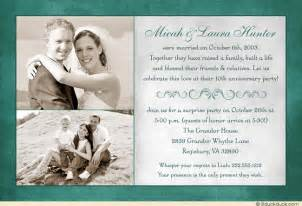 10th wedding anniversary invitation flourish marriage teal