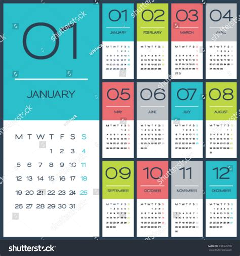 Calendrier Photoshop Calendar 2015 Vector Design Template Simple Blank