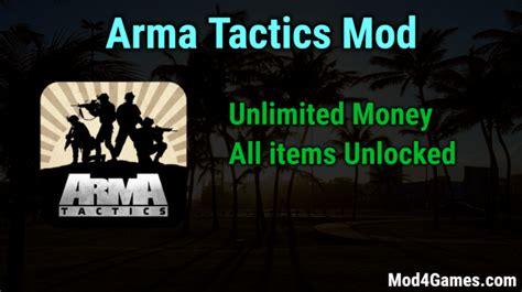 game mod offline unlimited arma tactics unlimited money game mod apk free with