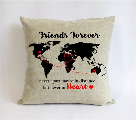 Something That Goes With A Pillow by Distance Friend Pillow Sham Bff Go Away Gift World Map