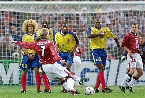columbia card world cup david beckham free kick against columbia world cup 1998