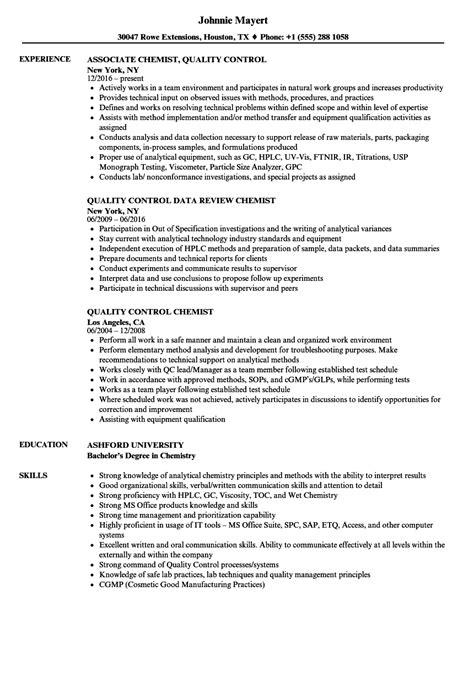 qa qc chemist resume software quality chemist resume sles velvet