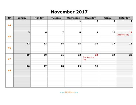 Calendar Nov 2017 November 2017 Calendar Pdf Weekly Calendar Template