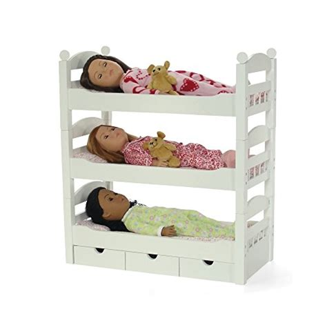 18 inch doll bunk bed 18 inch doll white triple detachable trundle bunk bed furniture made to fit american