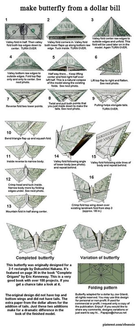 Money Origami Butterfly - make butterfly from a dollar bill dollar orgamis and