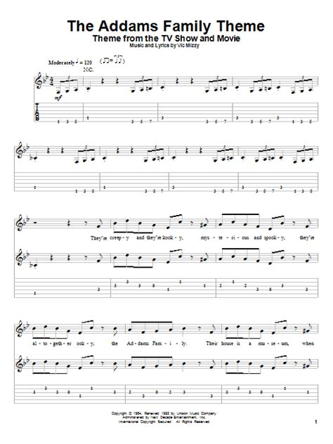 theme song addams family the addams family theme sheet music by vic mizzy guitar